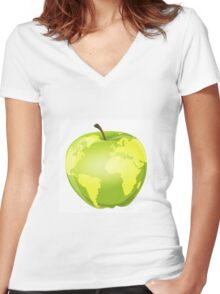 apple with geographic contours Women's Fitted V-Neck T-Shirt