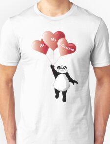 Panda and Balloons Valentine Card Unisex T-Shirt