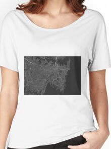 Sydney, Australia Map. (White on black) Women's Relaxed Fit T-Shirt