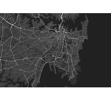 Sydney, Australia Map. (White on black) Photographic Print