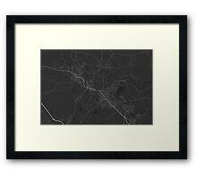 Maitland, Australia Map. (White on black) Framed Print