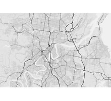 Brisbane, Australia Map. (Black on white) Photographic Print