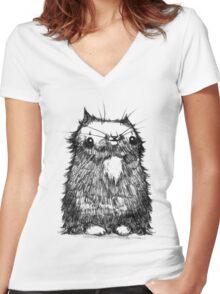 Black Creepycat Women's Fitted V-Neck T-Shirt