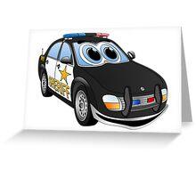 Sheriff Black White Car Cartoon Greeting Card