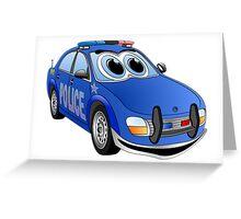Police Blue Car Cartoon Greeting Card