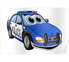 Police Blue White Car Cartoon Poster