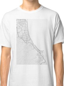 Gold Coast-Tweed Head, Australia Map. (Black on white) Classic T-Shirt
