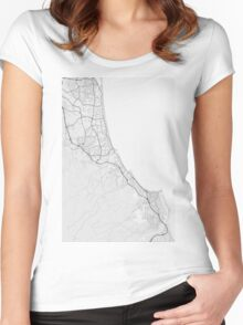 Gold Coast-Tweed Head, Australia Map. (Black on white) Women's Fitted Scoop T-Shirt
