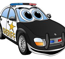 Sheriff BWT Car Cartoon by Graphxpro