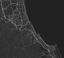Gold Coast-Tweed Head, Australia Map. (White on black) by Graphical-Maps