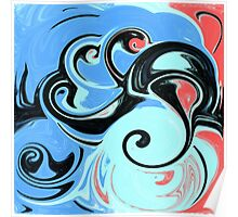Red, Black, and Blue Abstract Design Poster