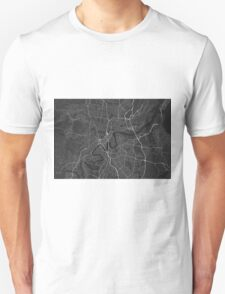 Brisbane, Australia Map. (White on black) Unisex T-Shirt