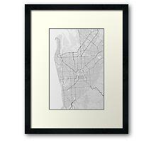 Adelaide, Australia Map. (Black on white) Framed Print
