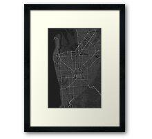 Adelaide, Australia Map. (White on black) Framed Print
