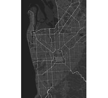 Adelaide, Australia Map. (White on black) Photographic Print