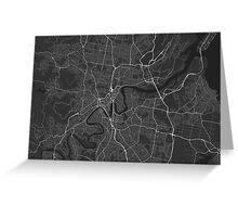 Brisbane, Australia Map. (White on black) Greeting Card