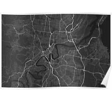 Brisbane, Australia Map. (White on black) Poster