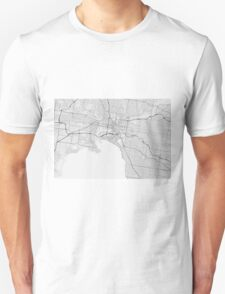 Melbourne, Australia Map. (Black on white) Unisex T-Shirt