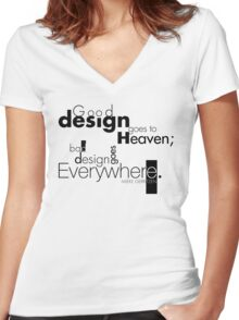 Good Design Goes to Heaven Women's Fitted V-Neck T-Shirt
