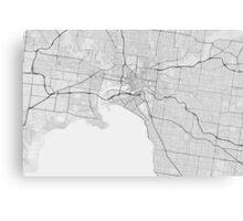 Melbourne, Australia Map. (Black on white) Canvas Print