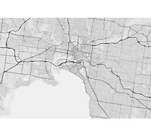 Melbourne, Australia Map. (Black on white) Photographic Print