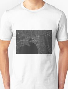 Melbourne, Australia Map. (White on black) Unisex T-Shirt