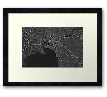 Melbourne, Australia Map. (White on black) Framed Print