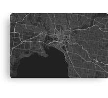 Melbourne, Australia Map. (White on black) Canvas Print