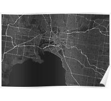 Melbourne, Australia Map. (White on black) Poster