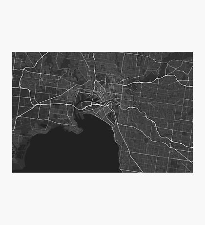 Melbourne, Australia Map. (White on black) Photographic Print