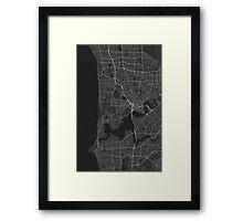Perth, Australia Map. (White on black) Framed Print