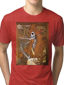 Alphonse Mucha - 'JOB' cigarette paper (1896) Skeleton Version Tri-blend T-Shirt