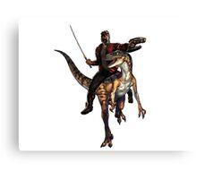 star lord riding a velociraptor Canvas Print