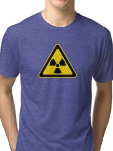 Radioactive Symbol Warning Sign - Radioactivity - Radiation - Yellow & Black - Triangular Tri-blend T-Shirt