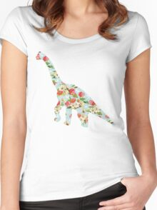 Floral Dinosaur Women's Fitted Scoop T-Shirt