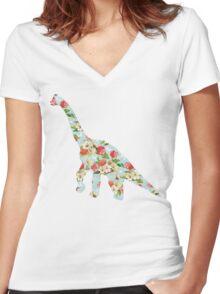 Floral Dinosaur Women's Fitted V-Neck T-Shirt