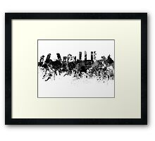Madrid skyline in black watercolor Framed Print