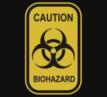 Caution Biohazard Sign - Yellow & Black - Rectangular Kids Tee