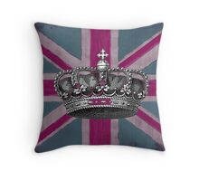 Union Jack and Crown Throw Pillow
