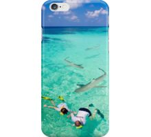 Snorkeling with sharks in the Maldives iPhone Case/Skin