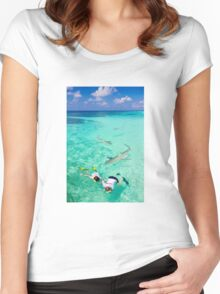 Snorkeling with sharks in the Maldives Women's Fitted Scoop T-Shirt
