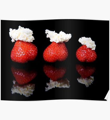 Strawberries and whipped cream Poster