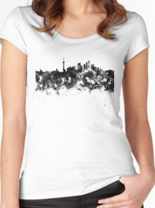 Shanghai skyline in black watercolor Women's Fitted Scoop T-Shirt