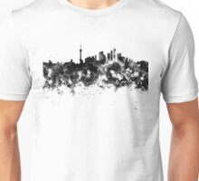 Shanghai skyline in black watercolor Unisex T-Shirt