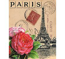 Eiffel Tower and Roses Photographic Print