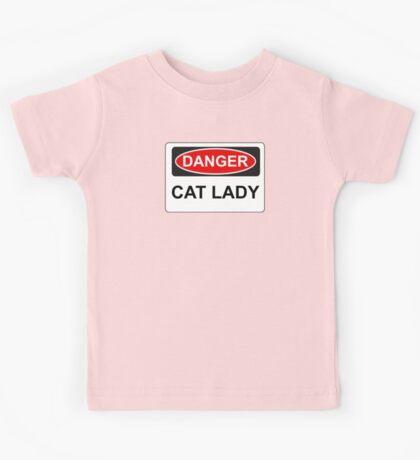 Danger Cat Lady - Warning Sign Kids Tee