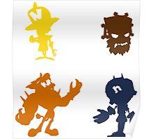 Crash Bandicoot (Foes) - Coloured Silhouettes Poster