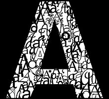 Letter A, black background by Julie Hartman