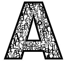 Letter A, white background Photographic Print