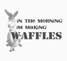 in the morning, donkey is making waffles Kids Clothes
